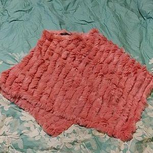 Bcbg maxazria pink fur wrap sz OS